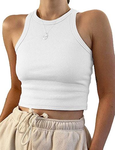 KAMISSY Cropped Rib-Knit Tank Top