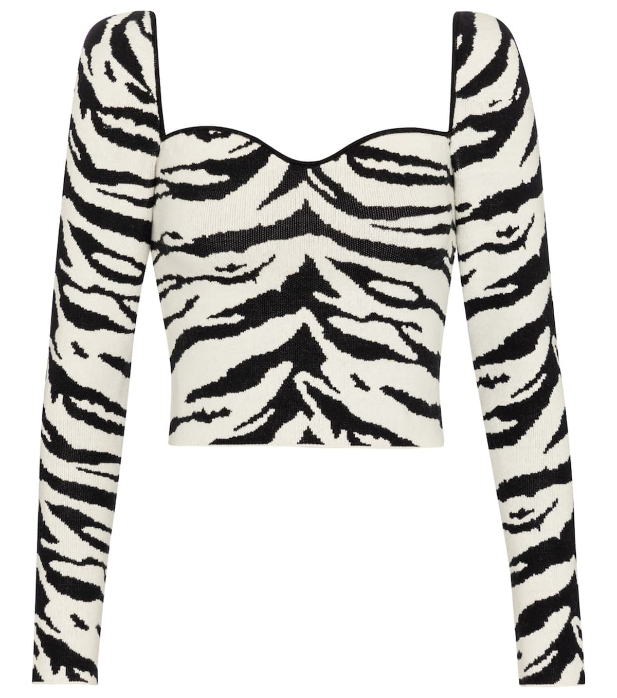 Zebra-print cotton-blend crop top