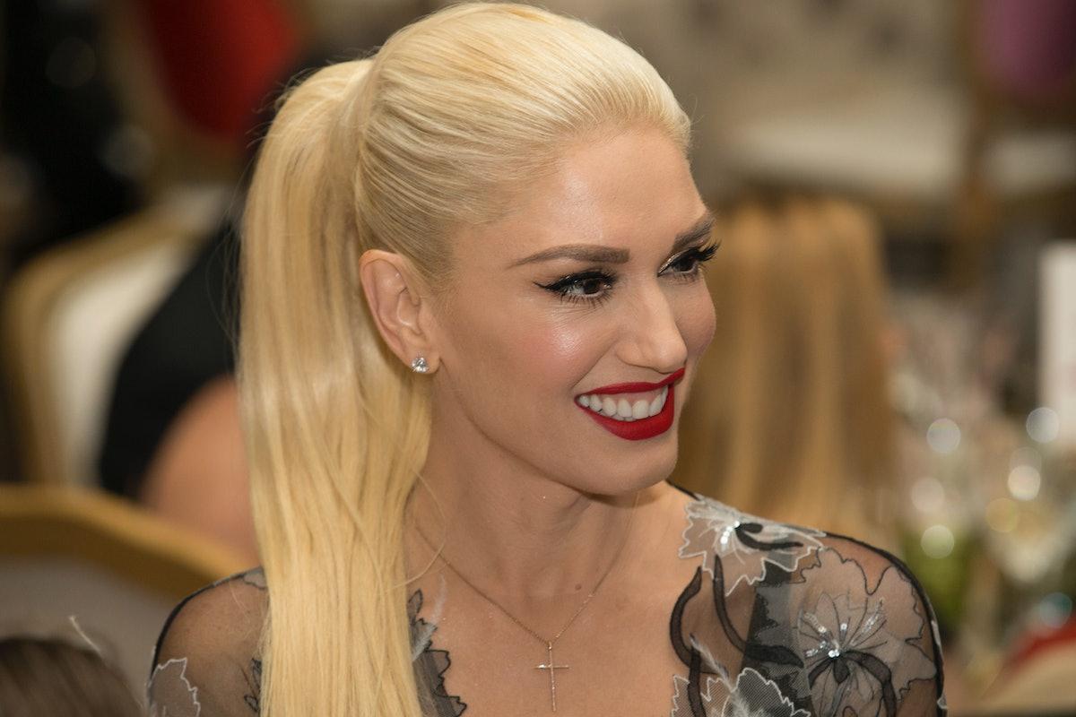Gwen Stefani wearing a high ponytail