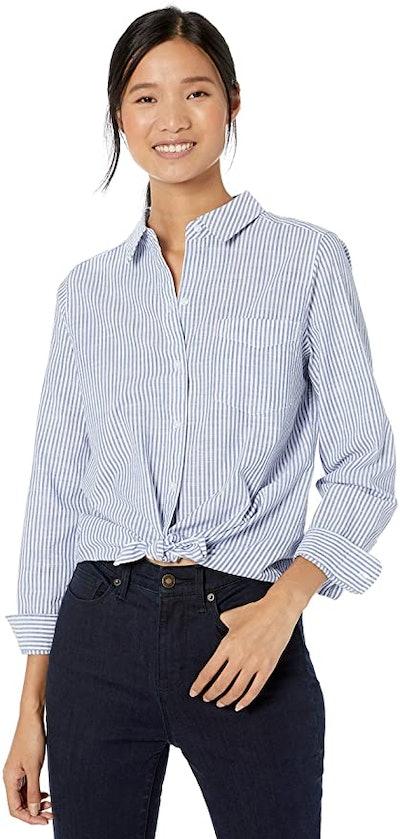 Goodthreads Women's Washed Cotton Boyfriend Shirt
