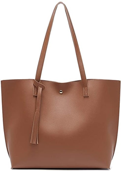 Women's Soft Faux Leather Tote Shoulder Bag from Dreubea, Big Capacity Tassel Hand