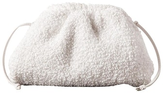 Pouch Small Leather-trimmed Gathered White Leather and Boucle Clutch