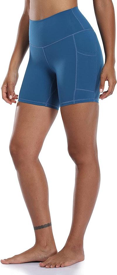 "Colorfulkoala Women's High Waisted  6"" Biker Shorts with Pockets"