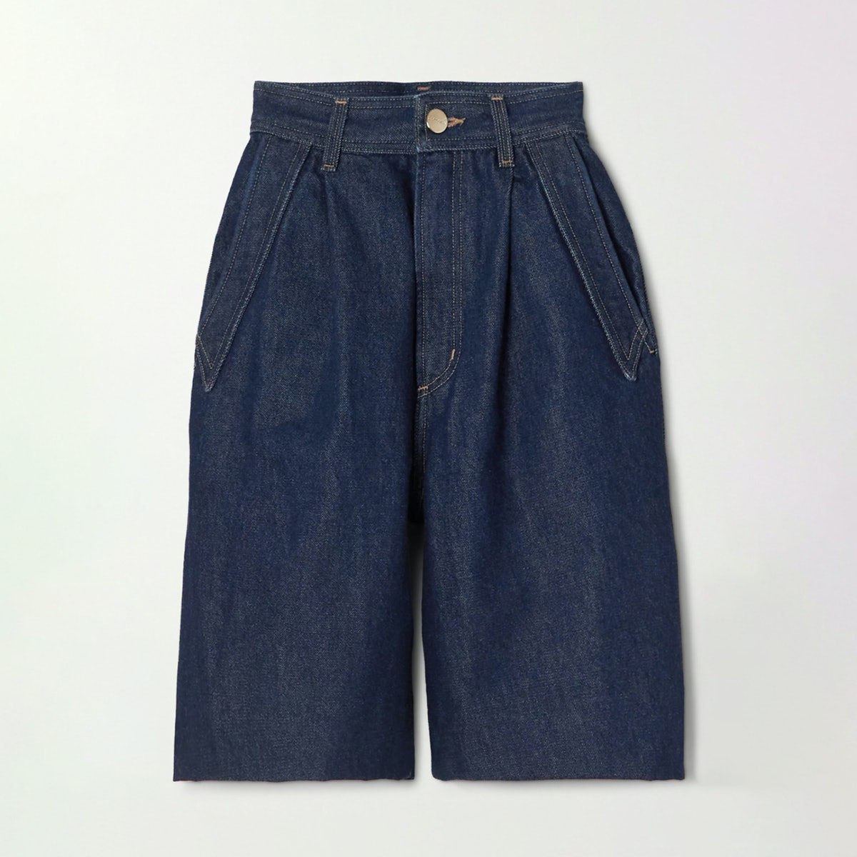 Goldsign Denim Pierced Pocket Pleated Denim Shorts