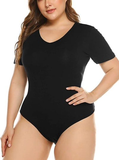 IN'VOLAND Women's Plus Size Short Sleeve Scoop Neck Bodysuit