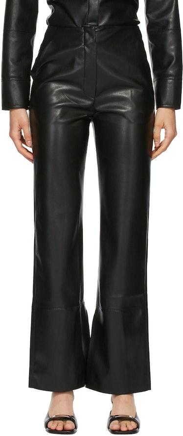 Black Vegan Leather Rhyan Trousers