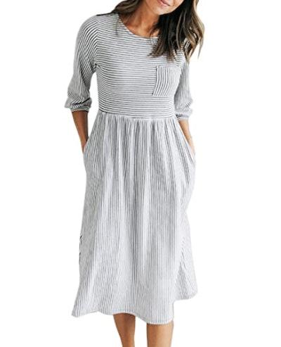 MEROKEETY Striped T-Shirt Dress