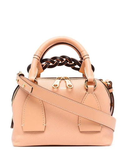 Small Daria Leather Day Bag in Peach Bloom