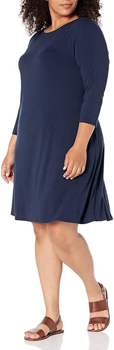 Amazon Essentials Women's Plus Size 3/4 Sleeve Boatneck Dress