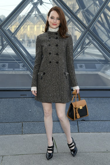 Emma Stone wearing LV coat