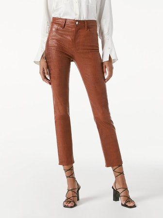 Le Sylvie Leather Pant in Redwood Croc
