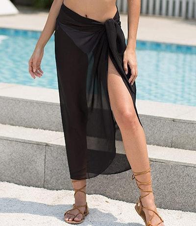 LIENRIDY Women's Sheer Tie Wrap Skirt