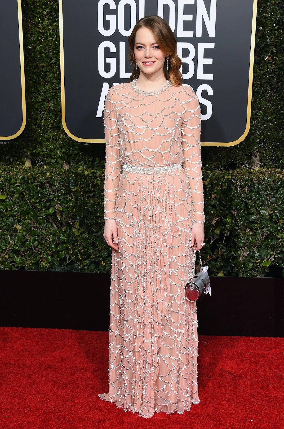 Emma Stone wearing pink Louis Vuitton Atelier gown