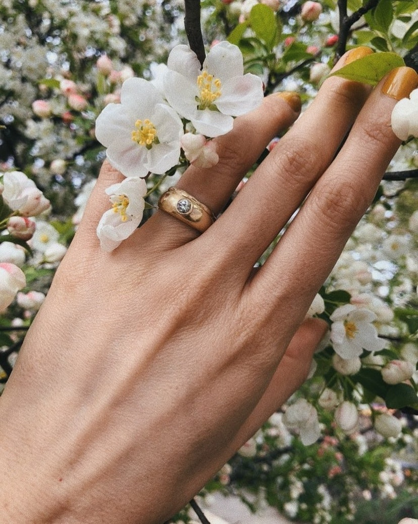 The flush set engagement rings are trending for 2021 — here are 15 styles to shop if you like the minimal aesthetic, including this yellow gold piece from Ursa Major.