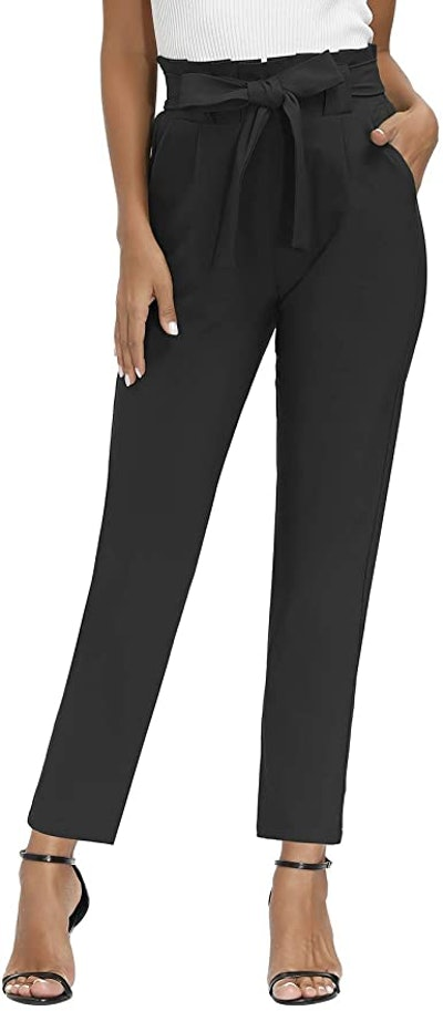 Yidarton Womens Paper Bag Waist Trousers with Pockets