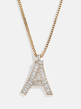 Baguette Initial Necklace