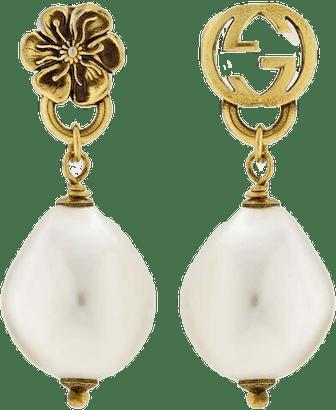 Interlocking G Flower Pearl Earrings