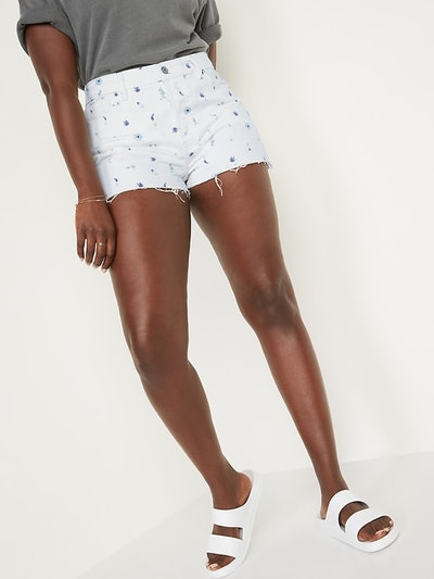 High-Waisted O.G. Straight Floral Button-Fly Cut-Off Jean Shorts