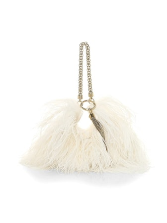 Callie Tassel Feather-Trimmed Leather Clutch