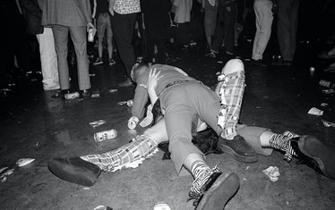 A scene from Circus, a roving warehouse party in London, 1985.