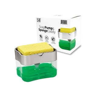 S&T INC. Soap Pump Dispenser and Sponge Holder