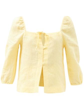 Nicola Tie-Neck Organic-Linen Cropped Top