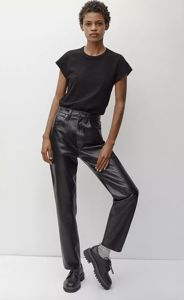 90s Fitted Recycled Leather Pants