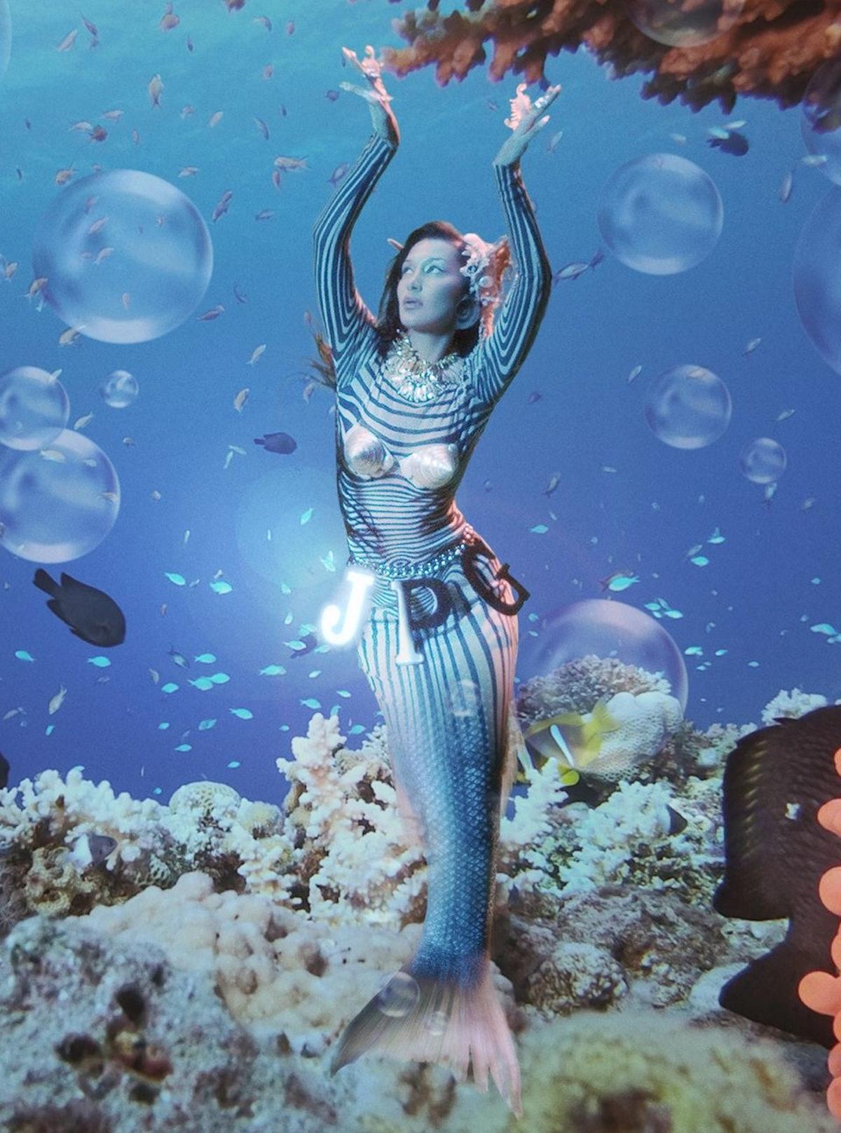 Bella Hadid as a mermaid