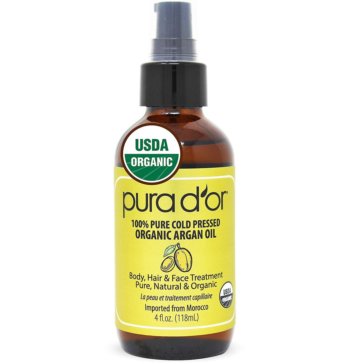 PURA D'OR 100% Pure Cold Pressed Organic Argan Oil