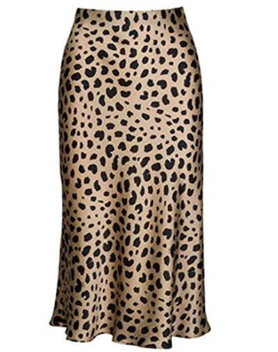 Soowalaoo Leopard Print Silk Midi Skirt