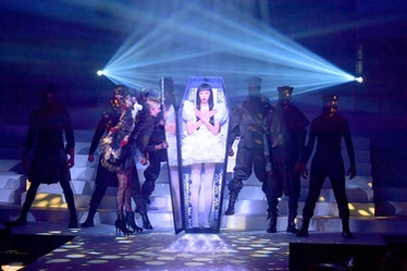 Issa Lish in a coffin at Jean Paul Gaultier's last couture show