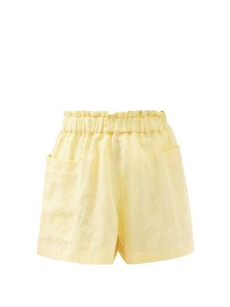 Emilia Organic-Linen Wide-Leg Shorts