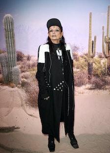 Michèle Lamy wearing black