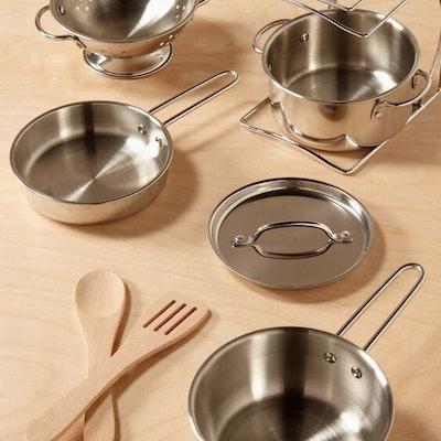 Melissa & Doug Stainless Steel Pots & Pans Play Set