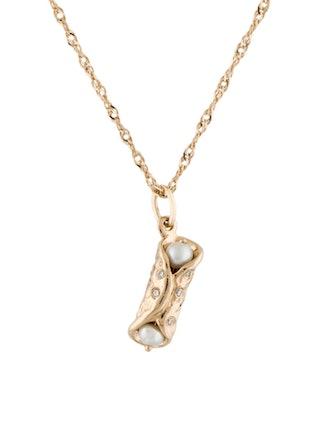 14K Pearl & Diamond Holy Cannoli Supreme Charm Necklace