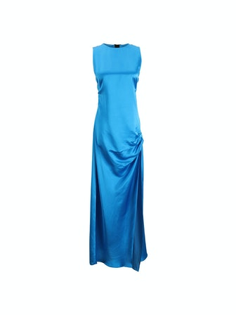 Satin Open Back Gown in Royal Blue
