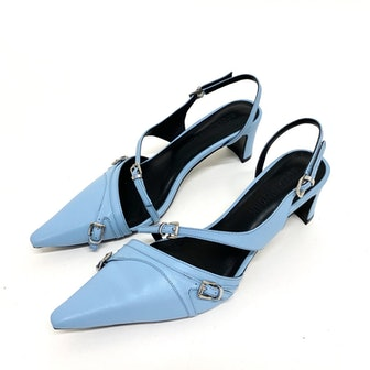 Blue Twisted Straps Mules
