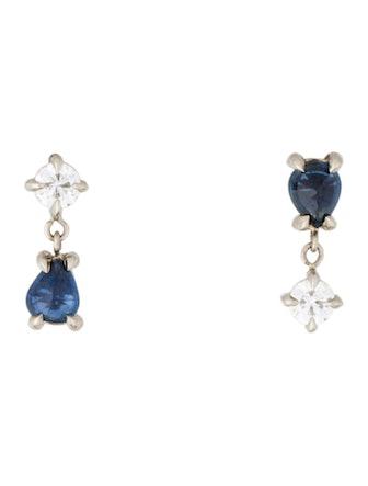 14K Sapphire & Diamond Topsy-Turvy Angel Hair Stud Earrings