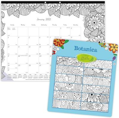 Blueline 2021 DoodlePlan Monthly Coloring Desk Pad