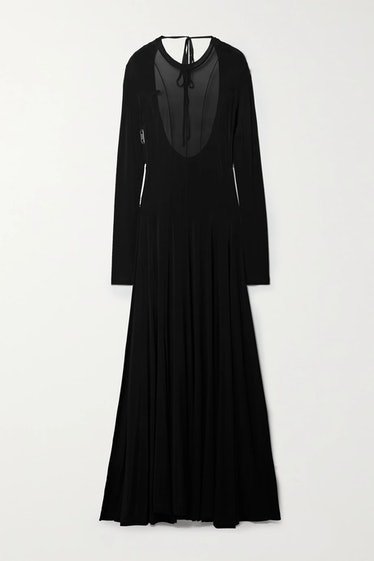 Squid Open-Back Paneled Stretch-Jersey Maxi Dress