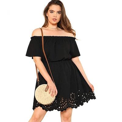 Romwe Plus-Size Off The Shoulder Scallop Hem Dress