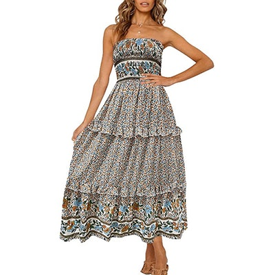 ZESICA Floral Strapless Maxi Dress
