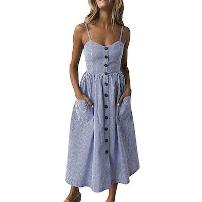 SWQZVT Button-Up Spaghetti Strap Dress