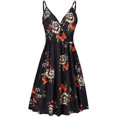 STYLEWORD Floral Spaghetti Strap Surplice Dress