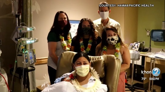 Lavinia Mounga gave birth on a flight from Salt Lake City to Honolulu; the nurses and doctor who helped her after delivery visited her in the hospital days later.