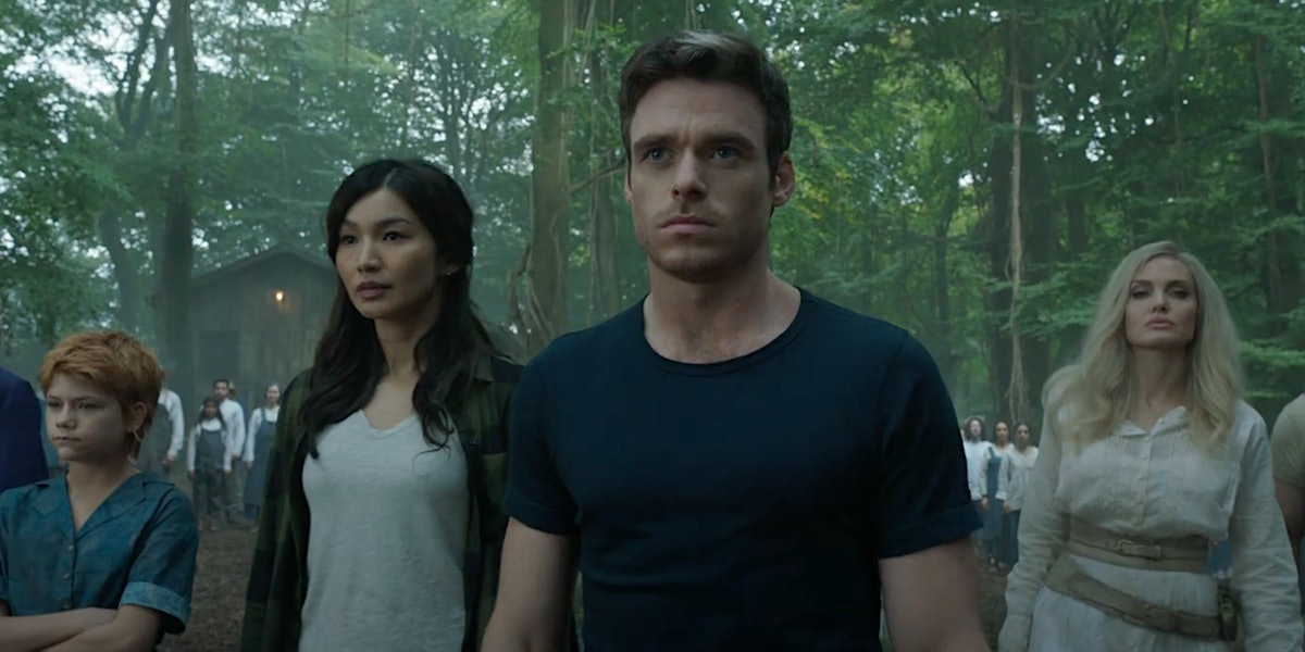 Lia McHugh as Sprite, Gemma Chan as Sersi, Richard Madden as Ikaris, and Angelina Jolie as Thena in Marvel's 'Eternals'