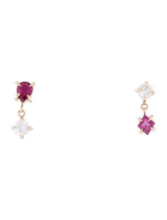 14K Ruby & Diamond Topsy-Turvy Angel Hair Earrings