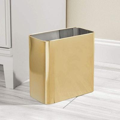 mDesign Modern Metal Rectangular Wastebasket