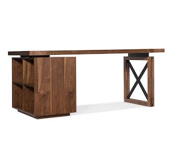 """Daniel 74"""" Desk with Open Bookcase"""