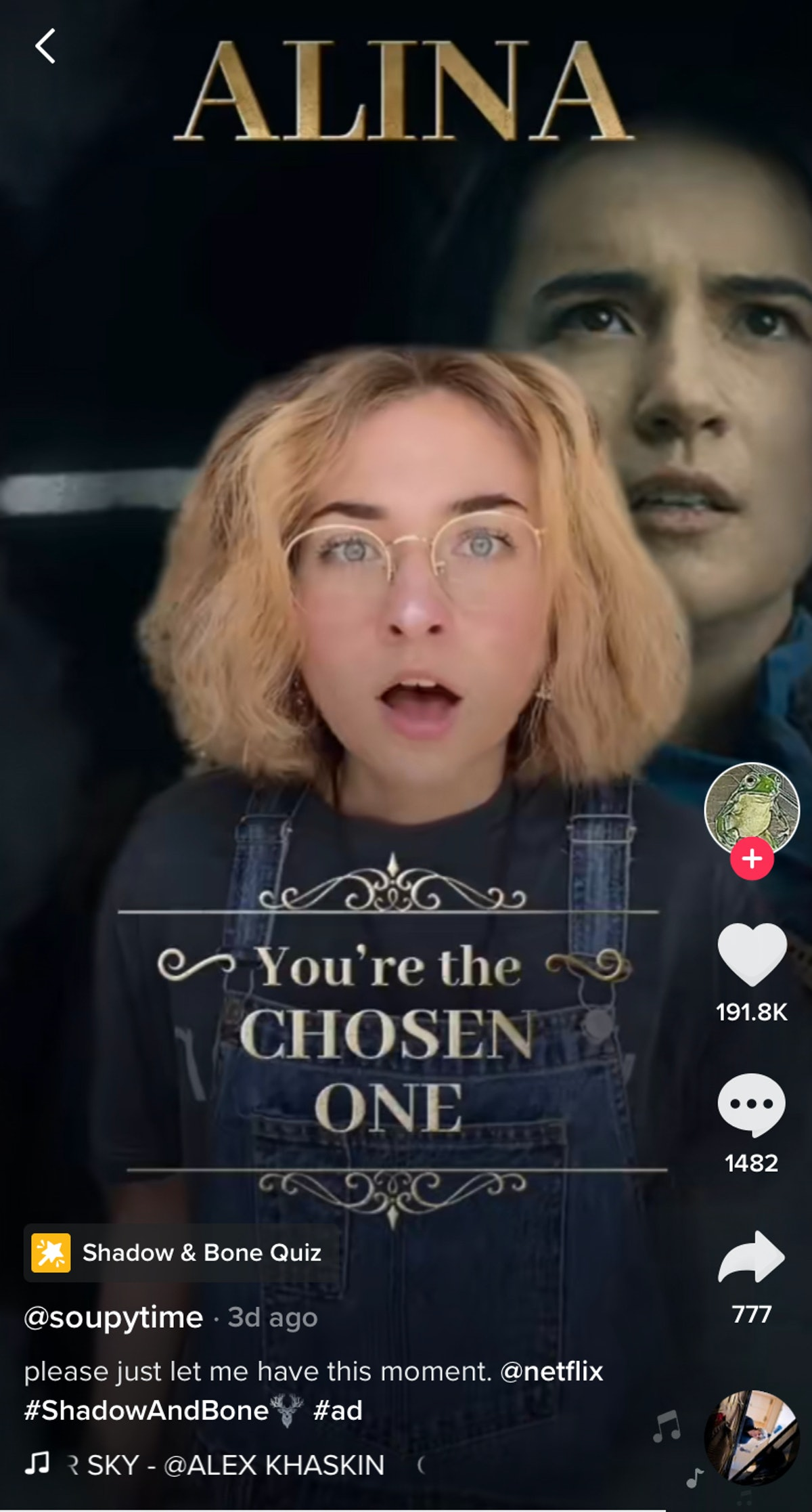 A TikToker takes the 'Shadow and Bone' quiz on TikTok and gets Alina.